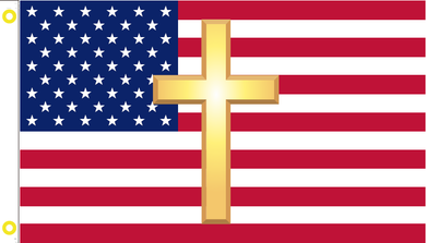3X5 100D AMERICAN CHRISTIAN USA FLAG WITH GOLD CROSS