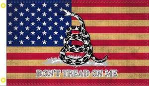 3X5 100D AMERICAN VINTAGE DON'T TREAD ON ME USA FLAG TEA STAINED