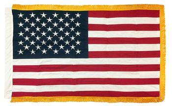 AMERICAN FLAG SEWN COTTON 3X5 WITH GOLD FRINGE