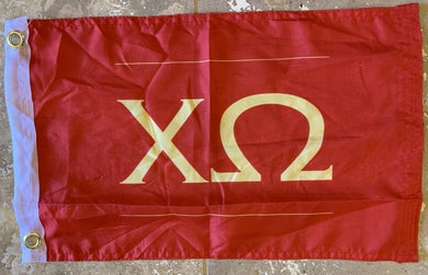 Rough Tex ® 100D Flag - 12x18 CHI OMEGA FLAG XO WITH GROMMETS