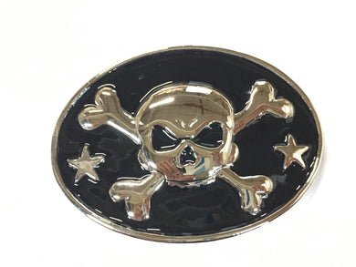 BELT BUCKLE SKULL N BONES PIRATE BIKER OVAL