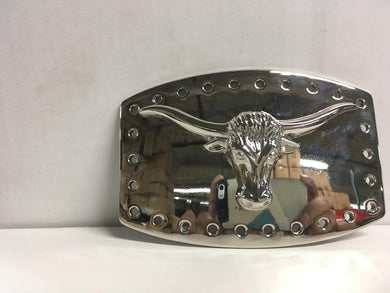 COWBOY BULL LONGHORN BELT BUCKLE CHROME