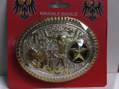 TEXAS COWBOY RODEO PREMIUM BELT BUCKLE GOLD AND SILVER OVAL