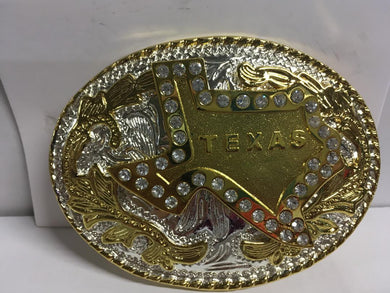TEXAS RHINESTONE OVAL GOLD BELT BUCKLE OVAL