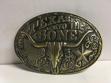TEXAS TO THE BONE BELT BUCKLE LONGHORN OVAL