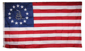 BETSY ROSS USA RATTLE SNAKE REV WAR 68D PREMIUM UV PROTECTED WATER PROOF 3'X5' FLAGS ROUGH TEX