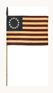 Betsy Ross Primitive American USA 13 Stars Tea Stained Rough Tex ® 12x18 Inches Mounted On Wooden Staffs 30