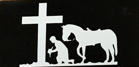 COWBOY KNEELING AT THE CROSS HORSEBACK BLACK TACTICAL OFFICIAL BUMPER STICKER PACK OF 50 BUMPER STICKERS MADE IN USA WHOLESALE BY THE PACK OF 50!