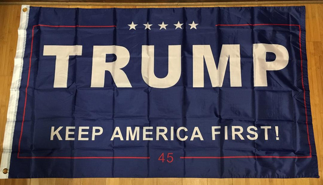 12 TRUMP KEEP AMERICA FIRST BLUE 45 FLAG 3'X5' FLAGS BY THE DOZEN WHOLESALE PER DESIGN!