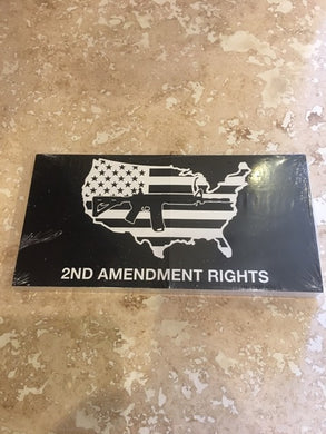 BLACK TACTICAL 2ND AMENDMENT RIGHTS USA FLAG MAP M4 ASSAULT RIFLE NRA OFFICIAL BUMPER STICKER PACK OF 50 BUMPER STICKERS MADE IN USA WHOLESALE BY THE PACK OF 50!