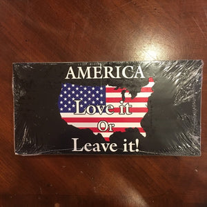 AMERICA LOVE IT OR LEAVE IT MAP USA FLAG BLACK TACTICAL OFFICIAL BUMPER STICKER PACK OF 50 BUMPER STICKERS MADE IN USA WHOLESALE BY THE PACK OF 50!