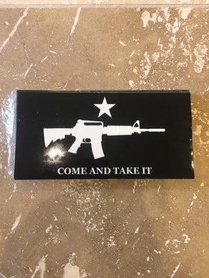 COME & TAKE IT M4 BLACK TACTICAL ASSAULT RIFLE NRA OFFICIAL BUMPER STICKER PACK OF 50 BUMPER STICKERS MADE IN USA WHOLESALE BY THE PACK OF 50!