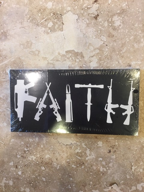 FAITH GUNS BLACK TACTICAL OFFICIAL BUMPER STICKER PACK OF 50 BUMPER STICKERS MADE IN USA WHOLESALE BY THE PACK OF 50!