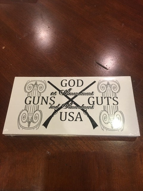 GOD GUNS GUTS USA 2ND AMENDMENT CROSSED RIFLE WHITE OFFICIAL BUMPER STICKER PACK OF 50 BUMPER STICKERS MADE IN USA WHOLESALE BY THE PACK OF 50!