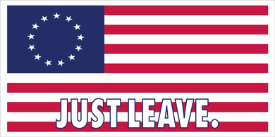 JUST LEAVE BETSY ROSS 1776 AMERICAN FLAG OFFICIAL BUMPER STICKER PACK OF 50 WHOLESALE FULL COLOR