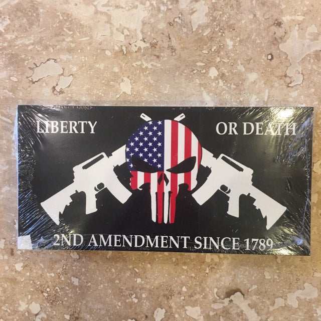 LIBERTY OR DEATH AMERICAN SKULL 2ND AMENDMENT CROSSED RIFLES BLACK TACTICAL OFFICIAL BUMPER STICKER PACK OF 50 BUMPER STICKERS MADE IN USA WHOLESALE BY THE PACK OF 50!