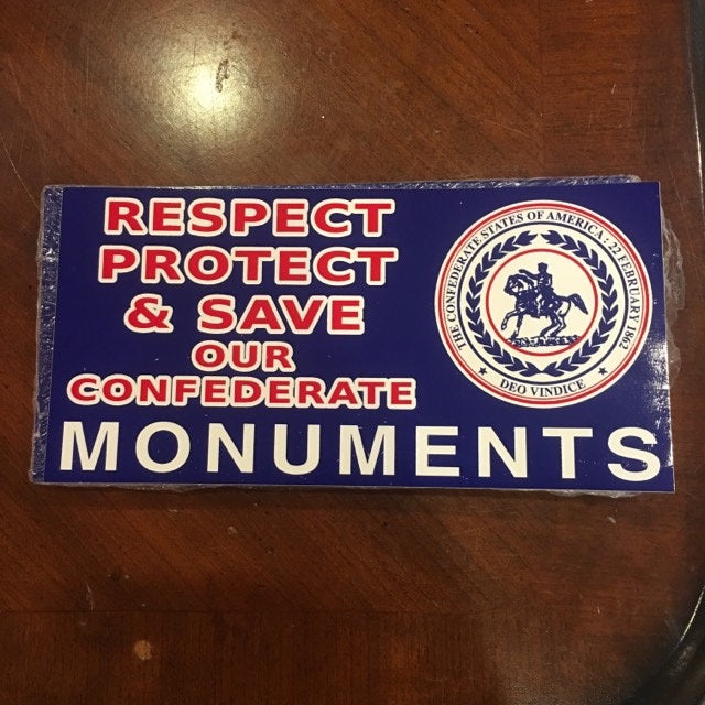 RESPECT PROTECT & SAVE OUR CONFEDERATE MONUMENTS CSA SEAL OFFICIAL BUMPER STICKER PACK OF 50 BUMPER STICKERS MADE IN USA WHOLESALE BY THE PACK OF 50!
