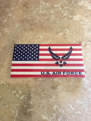 U.S. AIR FORCE WINGS AMERICAN FLAG BUMPER STICKER SOLD BY THE PACK OF 50