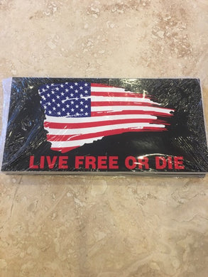 LIVE FREE OR DIE AMERICAN USA FLAG BLACK TACTICAL OFFICIAL BUMPER STICKER PACK OF 50 BUMPER STICKERS MADE IN USA WHOLESALE BY THE PACK OF 50!