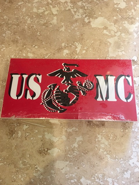 US MARINES BLACK EGA USMC MARINE CORPS RED BUMPER STICKER SOLD BY THE PACK OF 50