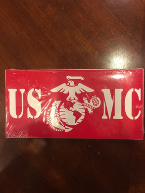 US MARINES WHITE EGA USMC MARINE CORPS RED BUMPER STICKER SOLD BY THE PACK OF 50