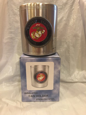USMC EMBOSSED STEEL CAN HOLDER UNITED STATES MARINE CORPS GIFT SET