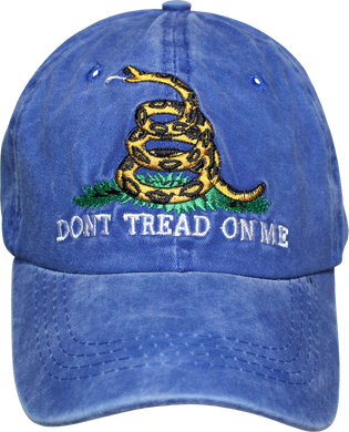 GADSDEN CAP WASHED BLUE 100% COTTON HAT DON'T TREAD ON ME