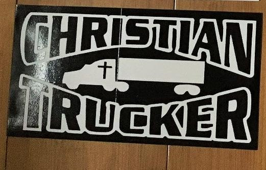 CHRISTIAN TRUCKER BLACK OFFICIAL BUMPER STICKER PACK OF 50 BUMPER STICKERS MADE IN USA WHOLESALE BY THE PACK OF 50!