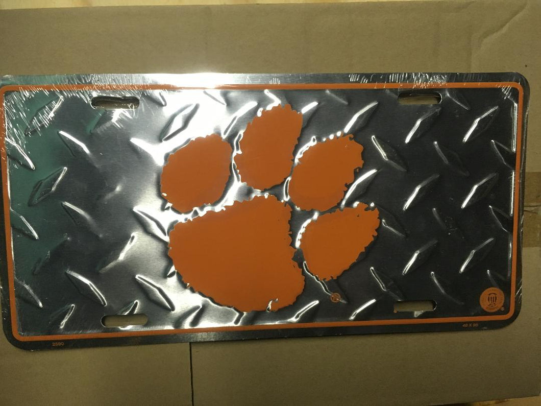 CLEMSON UNIVERSITY TIGER PAW PRINT LICENSE PLATE