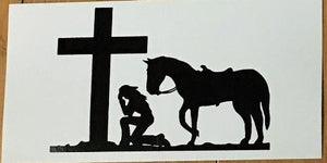 COWGIRL AT THE CROSS HORSEBACK OFFICIAL BUMPER STICKER PACK OF 50 BUMPER STICKERS MADE IN USA WHOLESALE BY THE PACK OF 50!