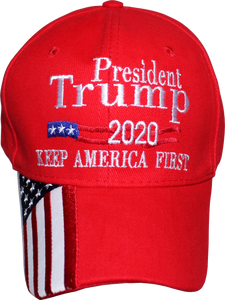Official President Trump 2020 KAF Keep America First Red Cap W/ Quarter USA Brim