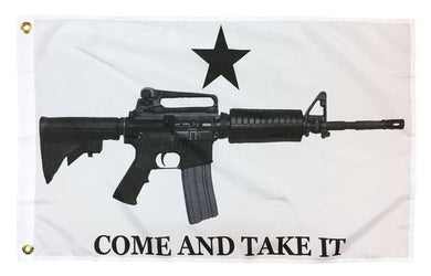 COME AND TAKE IT M4 RIFLE WHITE POLYESTER 3X5 FLAG