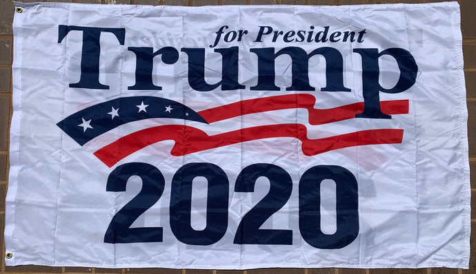 President Trump 2020 White Double Sided 3'X5' Flag Rough Tex® 100D
