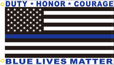 DUTY HONOR COURAGE BLUE LIVES MATTER USA POLICE MEMORIAL OFFICIAL FLAG 3X5