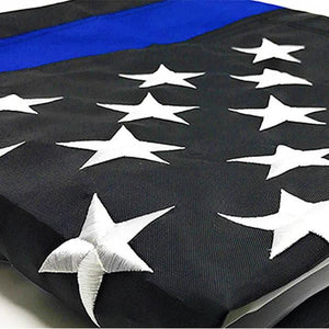 US Police Memorial Nylon Sewn Dura Sleek® Thin Blue Line American Flag Embroidered 3'x5'
