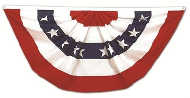 USA FAN BUNTING 3'X6' cotton AMERICAN FLAG FULL
