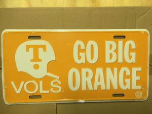 UNIVERSITY OF TENNESSEE GO BIG ORANGE VOLS LICENSE PLATE