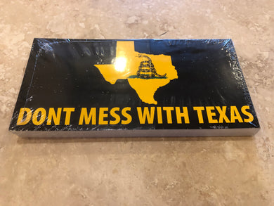 DON'T MESS WITH TEXAS GADSDEN BLACK TACTICAL BUMPER STICKER PACK OF 50 BUMPER STICKERS MADE IN USA WHOLESALE BY THE PACK OF 50!