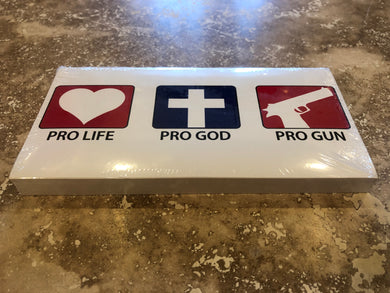 PRO LIFE, PRO GOD, PRO GUN OFFICIAL BUMPER STICKER PACK OF 50 BUMPER STICKERS MADE IN USA WHOLESALE BY THE PACK OF 50!