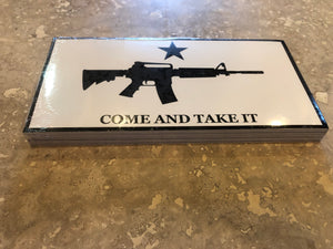 COME AND TAKE IT RIFLE WHITE OFFICIAL BUMPER STICKER PACK OF 50 BUMPER STICKERS MADE IN USA WHOLESALE BY THE PACK OF 50!