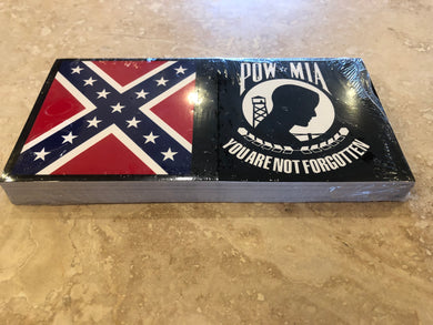 CONFEDERATE POW-MIA OFFICIAL BUMPER STICKER PACK OF 50 BUMPER STICKERS MADE IN USA WHOLESALE BY THE PACK OF 50!