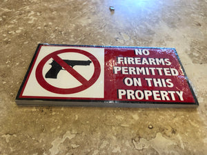 NO FIREARMS PERMITTED ON THIS PROPERTY OFFICIAL BUMPER STICKER PACK OF 50 BUMPER STICKERS MADE IN USA WHOLESALE BY THE PACK OF 50!