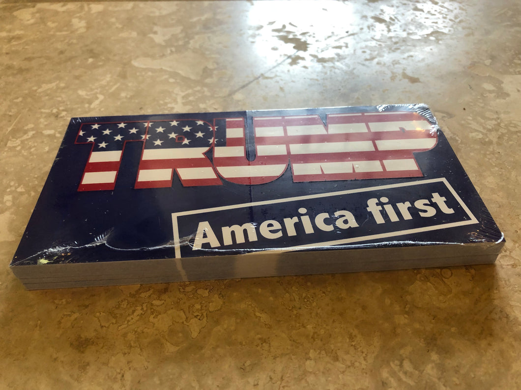 TRUMP AMERICA FIRST OFFICIAL BUMPER STICKER PACK OF 50 BUMPER STICKERS MADE IN USA WHOLESALE BY THE PACK OF 50!