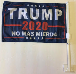 Trump No Mas Mierda No More Bullshit Double Sided Car Flag - 12''x18'' Knit
