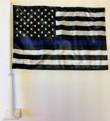 US Police Memorial Blue Line Double Sided Car Flag - 12''x18'' Knit