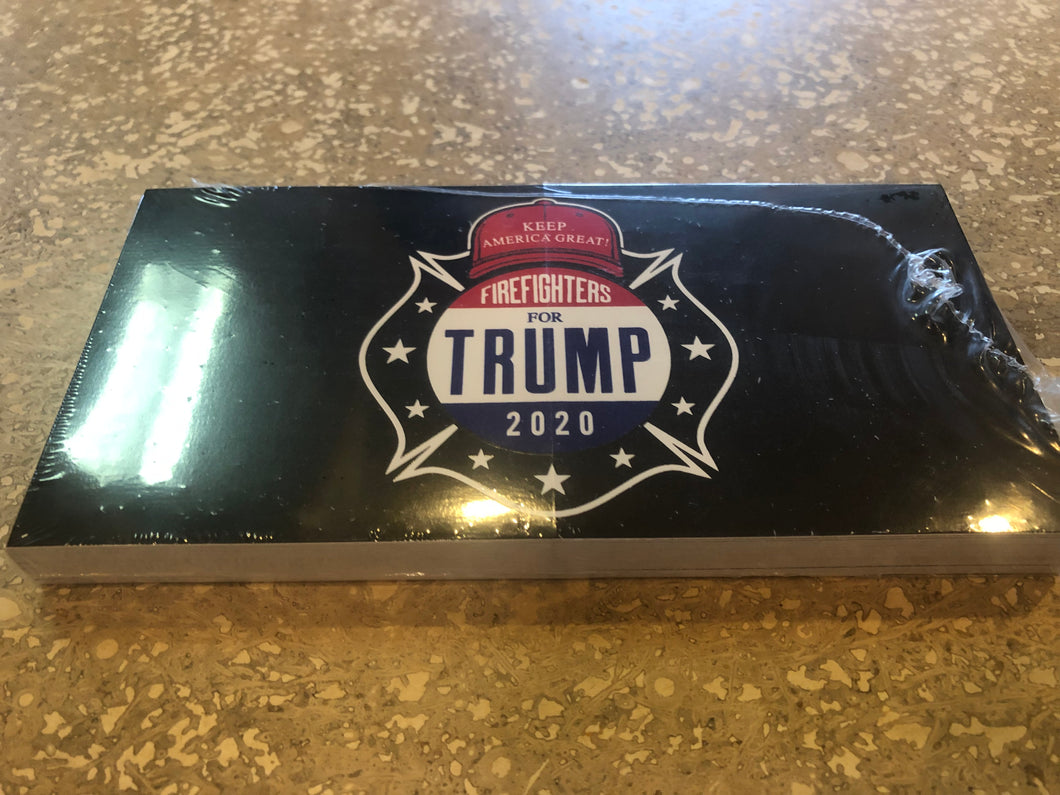 FIREFIGHTERS FOR TRUMP 2020 OFFICIAL BUMPER STICKER PACK OF 50 BUMPER STICKERS MADE IN USA WHOLESALE BY THE PACK OF 50!