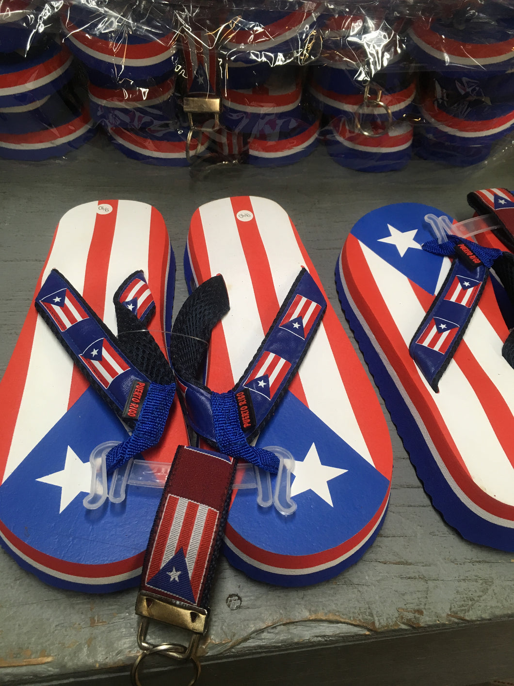 12 PUERTO RICO FLAG DESIGNED FLIP FLOPS ASSORTED SIZES