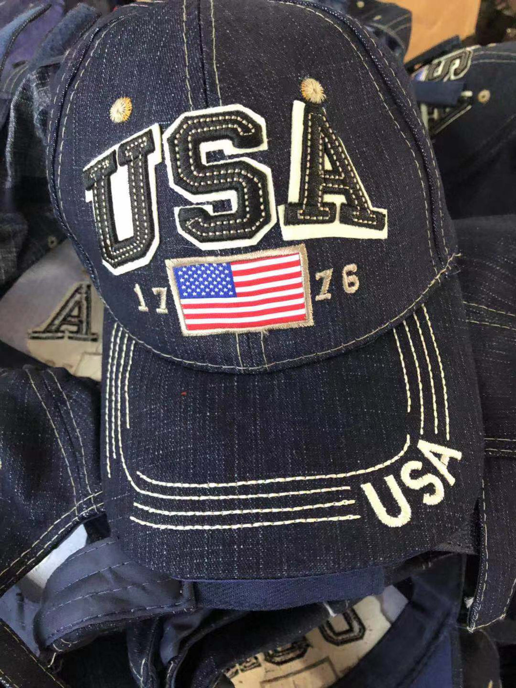 USA FLAG NAVY CAP 1776