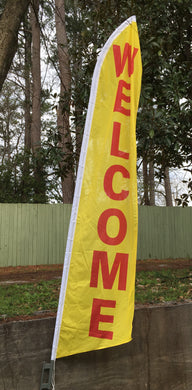 Welcome Red and Yellow Swooper Flag