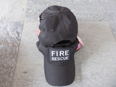 FIRE RESCUE CAP / HAT WITH USA FLAG ON SIDE